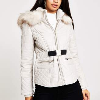 River Island Womens Beige faux leather fitted padded jacket