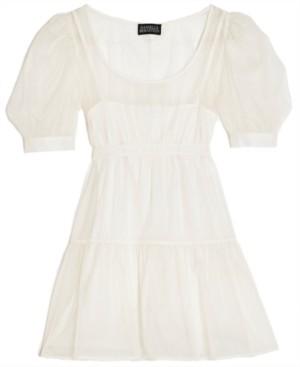 Danielle Bernstein Solid Organza Puff-Sleeve Mini Dress, Created for Macy's