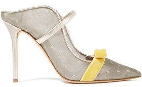 Malone Souliers Marguerine 100 Leather-trimmed Embellished Metallic Mesh Mules