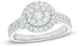 Zales 1 CT. T.W. Composite Diamond Frame Double Row Engagement Ring in 14K White Gold