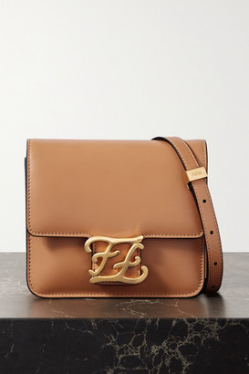 Fendi Karligraphy Leather Shoulder Bag - Light brown