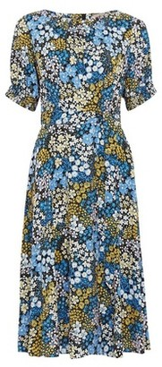 Dorothy Perkins Womens Billie & Blossom Blue Ditsy Floral Print Midi Dress, Blue