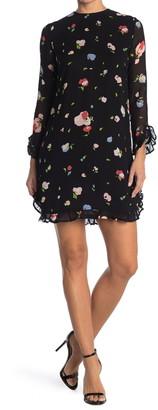 Ganni Printed Georgette Ruffle Mini Dress