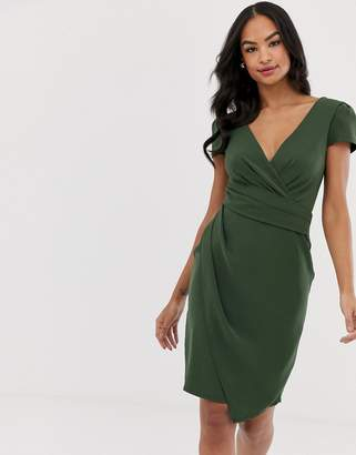 Paper Dolls cap sleeve colour block fitted dress with gathered bodice wrap over midi dress-Green