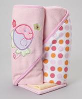 SpaSilk Pink Fish Hooded Towel & Washcloth Set