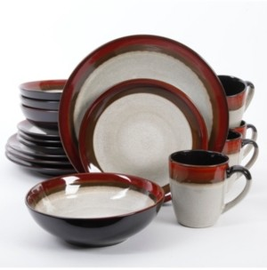 Gibson Couture Bands 16-piece Dinnerware Set Red, Service for 4