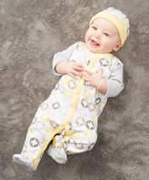 Baby Essentials White & Yellow Geometric Footie & Beanie - Infant