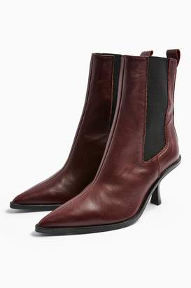 Topshop Womens Madrid Leather Burgundy Chelsea Boots - Burgandy