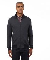 Ben Sherman Big And Tall Dark Grey Birdseye Textured Zip Through Sweater