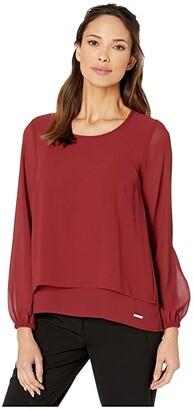 MICHAEL Michael Kors Cut Out Back Top (Dark Brandy) Women's Clothing