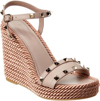 Valentino Rockstud Ankle Strap Leather Wedge Sandal