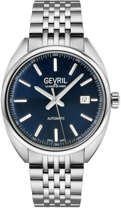 Gevril Men's Five Points Blue Dial Stainless Steel Watch, 44.5 mm