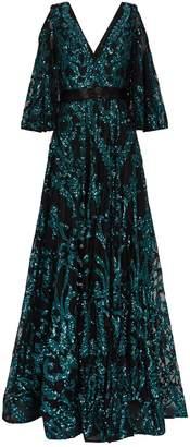 Jovani Sequin Cold-Shoulder Gown