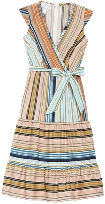 Donna Morgan Striped Tie Waist Flounce Hem Dress