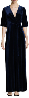 Aidan Mattox Velvet Surplice Dress