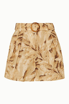Zimmermann Super Eight Belted Printed Linen Shorts