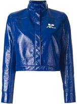 Courreges Cropped Vinyl Jacket - Royal Blue