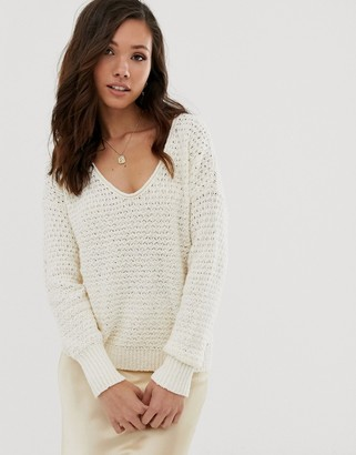 Abercrombie & Fitch scoop knit sweater in cream