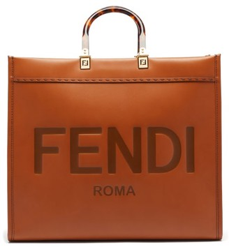 Fendi Sunshine Logo-debossed Leather Tote Bag - Tan
