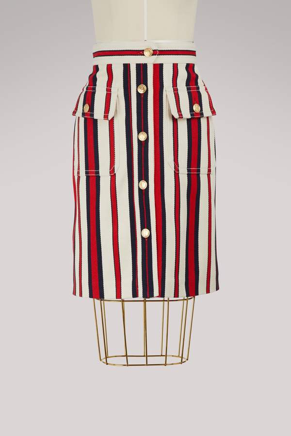 Gucci Striped denim skirt