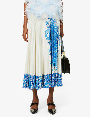 Valentino Floral-print pleated high-waisted woven midi skirt