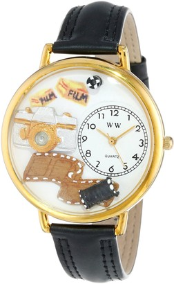 Whimsical Watches Photographer Black Padded Leather and Goldtone Unisex Quartz Watch with White Dial Analogue Display and Multicolour Leather Strap G-0610012