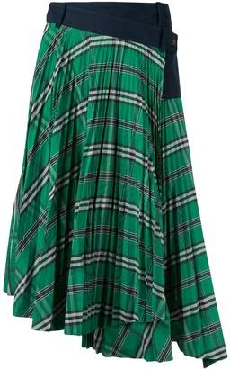 Cédric Charlier Checked Asymmetric Hem Skirt