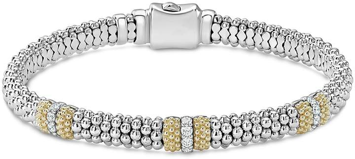 Lagos 18K Gold & Sterling Silver Diamond Lux Three Station Bracelet, 6mm