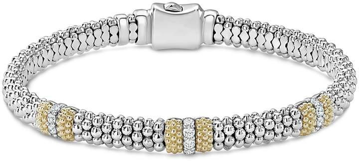 Lagos 18K Gold & Sterling Silver Diamond Lux Three Station Bracelet, 6mm
