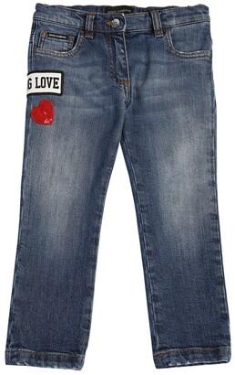 Dolce & Gabbana Patch Logo Stretch Denim Jeans