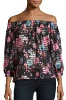 Romeo & Juliet Couture Floral Printed Striped Off-the-Shoulder Top