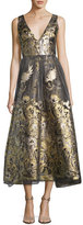 Marchesa Sleeveless Floral Lamé Fil Coupe Cocktail Dress, Gold