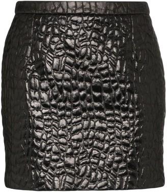 Saint Laurent Crocodile-Embossed Mini Skirt