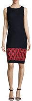 St. John Baruti Knit Scoop-Neck Dress, Blue/Red