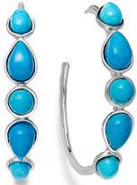 Macy's Sterling Silver Earrings, Turquoise Hoop Earrings (4-8mm)