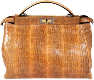 Fendi Brown Python Leather Peekaboo Mini Bag