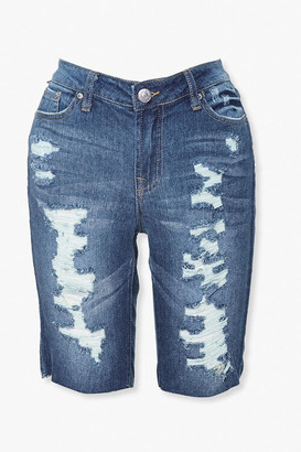 Forever 21 Distressed Denim Bermuda Shorts