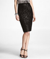 High-Waist Sequin Pencil Skirt