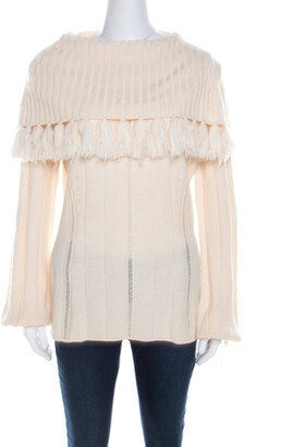 Escada Ivory Chunky Knit Wool and Silk Fringed Roll Neck Swanhilde Sweater L