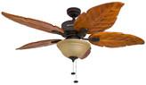 "Honeywell 52"" Sabal Palm Bronze Ceiling Fan w/ Bowl Light & Carved Wood Blades"