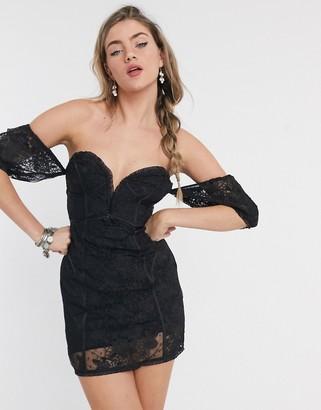 For Love & Lemons Azalea strapless mini dress in black