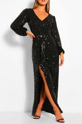 boohoo Bridesmaid Occasion Sequin Plunge Maxi Dress