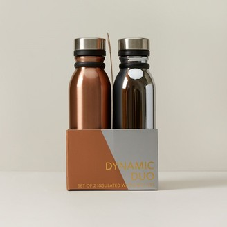 Indigo Set Of 2 Water Bottles Copper And Chrome