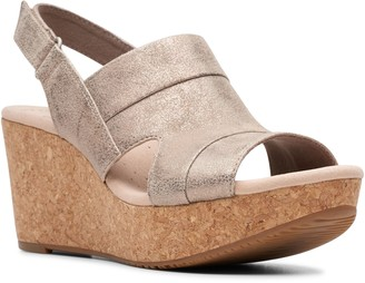 Clarks Collection Adjustable Wedge Sandals - Annadel Ivory