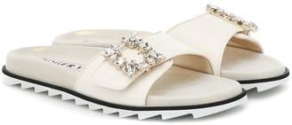 Roger Vivier Slidy Viv' Mini Broche leather sandals