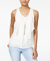 Amy Byer Juniors' Ruffled Blouse with Necklace