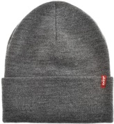 Levi's Levis Slouchy Red Tab Beanie Hat Grey