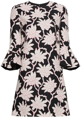 Valentino Floral Print Three-Quarter Length Mini Dress