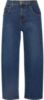 Current/Elliott The Barrel Crop High-rise Wide-leg Jeans - Mid denim