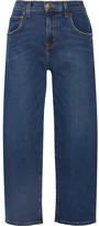 Current/Elliott The Barrel Crop High-rise Wide-leg Jeans - Mid denim